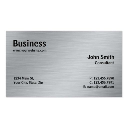 Silver Professional Elegant Metal Modern Plain Business Card Template