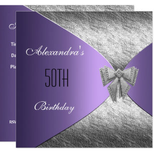 Silver Purple 50th Birthday Invitation Floral