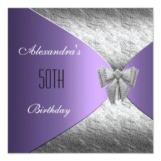 Silver Purple 50th Birthday Invitation Floral