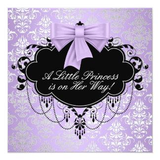 Silver Purple Black Princess Baby Girl Shower 13 Cm X 13 Cm Square Invitation Card