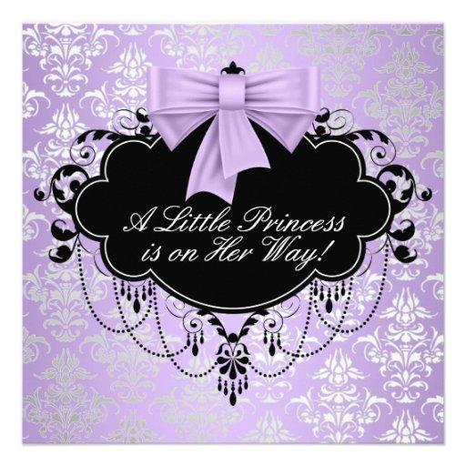 Silver Purple Black Princess Baby Girl Shower Custom Invitation