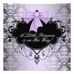 Silver Purple Black Princess Baby Girl Shower Personalised Invite