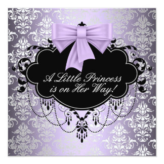 Silver Purple Black Princess Baby Girl Shower Personalized Announcement
