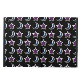 Silver Purple Blue Stars and Moons Pattern Black