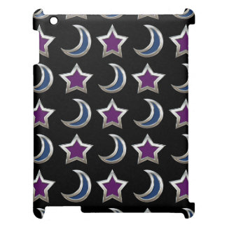 Silver Purple Blue Stars and Moons Pattern Black Cover For The iPad