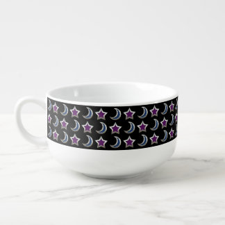 Silver Purple Blue Stars and Moons Pattern Black Soup Mug