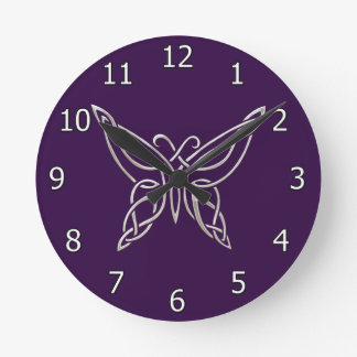 Silver Purple Celtic Butterfly Curling Knots Round Clock