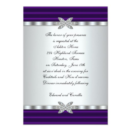 Silver And Purple Blank Invitations: Silver & Purple Cocktail Party Invitations