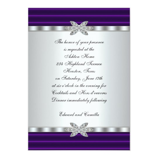 Silver & Purple Cocktail Party Invitations