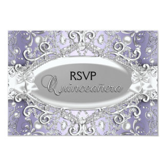 Silver & Purple Damask Pearl Quinceanera RSVP 9 Cm X 13 Cm Invitation Card