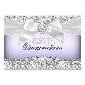 Silver Purple Glitter & Jewel Bow Quinceanera RSVP Custom Invitation