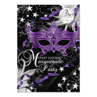 Silver Purple Mask Star Night Masquerade Sweet 16 13 Cm X 18 Cm Invitation Card