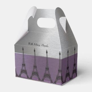 Silver Purple Metallic Paris Eiffel Personalized Favour Box
