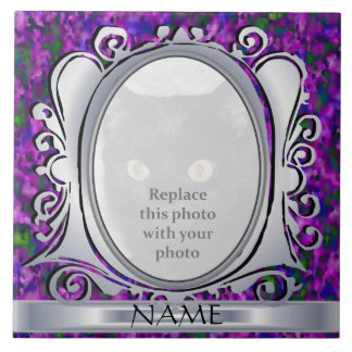 Silver Purple Oval Photo Frame with Name Tile