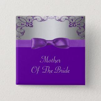 Silver & Purple Scrollwork Wedding 15 Cm Square Badge