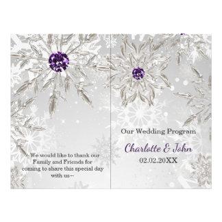 silver purple snowflakes winter wedding program 21.5 cm x 28 cm flyer