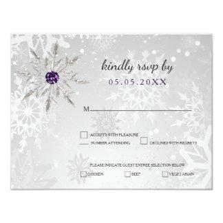 silver purple snowflakes winter wedding rsvp 11 cm x 14 cm invitation card