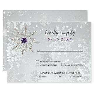 silver purple snowflakes winter wedding rsvp 9 cm x 13 cm invitation card