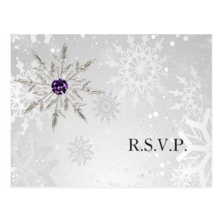 silver purple snowflakes winter wedding rsvp postcard