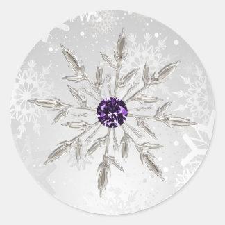 silver purple snowflakes winter wedding stickers