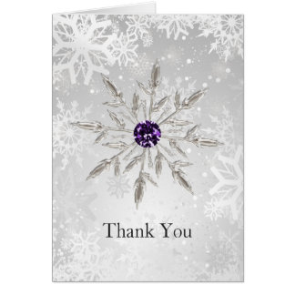 silver purple snowflakes winter wedding Thank You Greeting Card