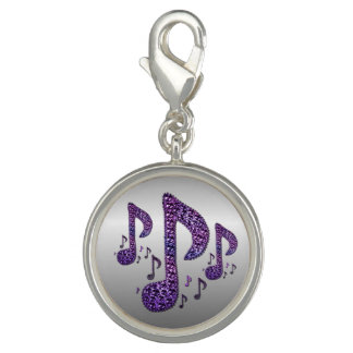 Silver Purple Sparkle Music Notes Charm