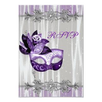 Silver Purple Sparkle Purple Masquerade Party RSVP 9 Cm X 13 Cm Invitation Card