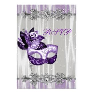 Silver Purple Sparkle Purple Masquerade Party RSVP Announcement