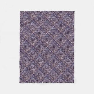 Silver Purple Square Shapes Celtic Knots Pattern Fleece Blanket