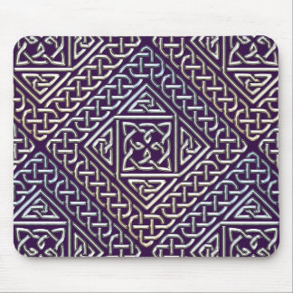 Silver Purple Square Shapes Celtic Knots Pattern Mousepads