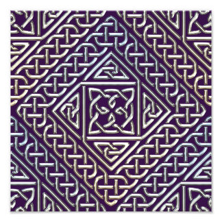Silver Purple Square Shapes Celtic Knots Pattern Photo