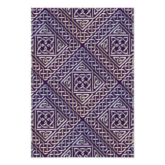 Silver Purple Square Shapes Celtic Knots Pattern Photograph
