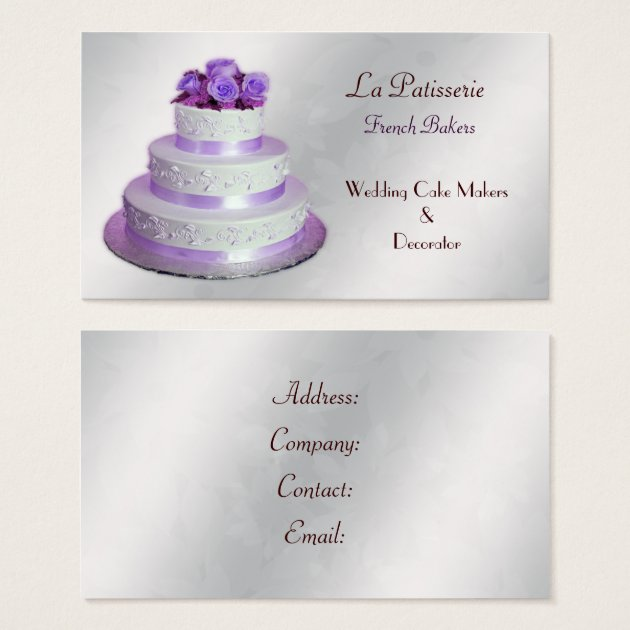 wedding cake business from home silver purple wedding cake makers business cards zazzle 22133
