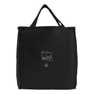 Silver Purple Writing Custom Name Spider Web Embroidered Bag
