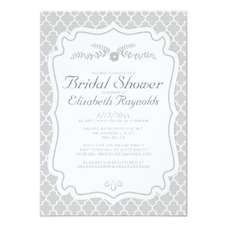 Silver Quatrefoil Bridal Shower Invitations