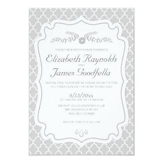 Silver Quatrefoil Wedding Invitations