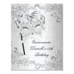 Silver Quinceanera 15th Birthday Masquerade Custom Invite