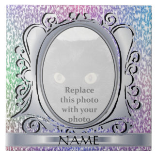 Silver Rainbow Oval Photo Frame with Name Tile