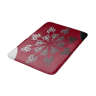 Silver Red Black Brick Ethnic Abstract Bath Mat