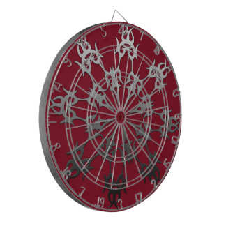 Silver Red Black Brick Ethnic Abstract Dartboard