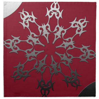 Silver Red Black Brick Ethnic Abstract Napkin