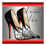 Silver Red Black High Heels Birthday Party 13 Cm X 13 Cm Square Invitation Card