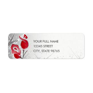 Silver & Red Roses Return Address Labels, Fire Ice Return Address Label