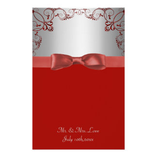 Silver & Red Scrollwork Wedding Customized Stationery