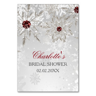 silver red snowflakes bridal shower bingo cards table cards