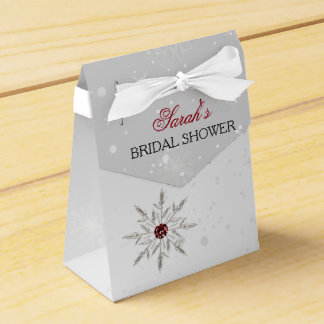silver red snowflakes bridal shower favor box