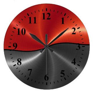 Silver Red Stainless Steel Metal Look Round Clocks