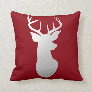 Silver Reindeer Antler Modern Silhouette Red Cushion