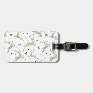 Silver Reindeers Luggage Tag