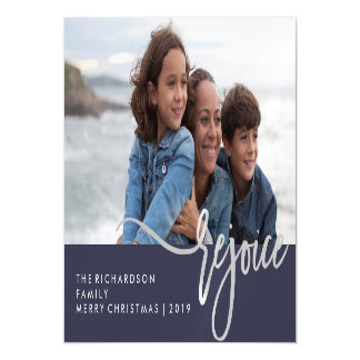 Silver Rejoice | Blue Modern Typography with Photo Magnetic Invitations